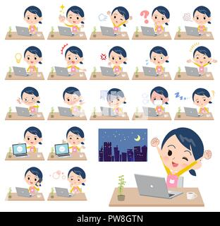 A set of Childminder women on desk work.There are various actions such as feelings and fatigue.It's vector art so it's easy to edit. - Stock Image