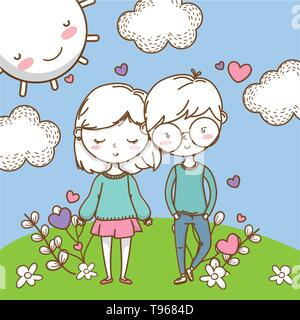 Romantic love couple cute stylish outfit glasses skirt heart background vector illustration graphic design - Stock Image