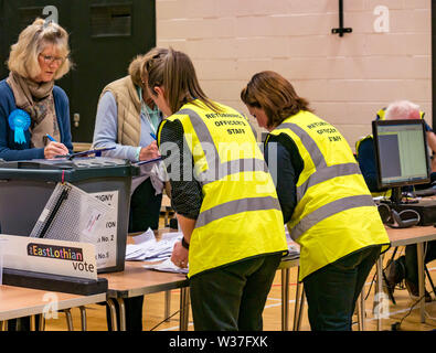 Votes being counted, Ward 5 Council election, Haddington & Lammermuir by-election, East Lothian May 2019, Scotland, UK - Stock Image