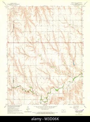 USGS TOPO Map Kansas KS Oberlin SW 512146 1965 24000 Restoration - Stock Image