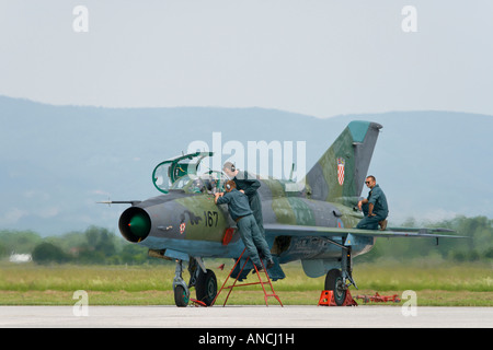 Croatian Air Force MiG-21 BISD '167' fighter maintenance after landing - Stock Image