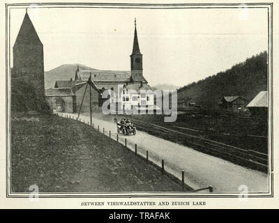 Vintage photograph of Motor car race from Paris to Vienna, 1902. Between Vierwaldstatter and Zurich Lake - Stock Image