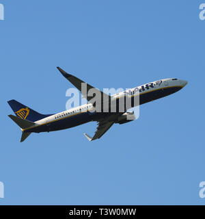Ryan Air passenger jet aircraft taking off from Luton Airport, Bedfordshire, England, UK - Stock Image