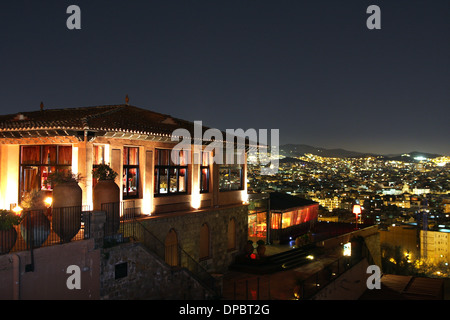 Night view from montjuic hill to Barcelona - Stock Image