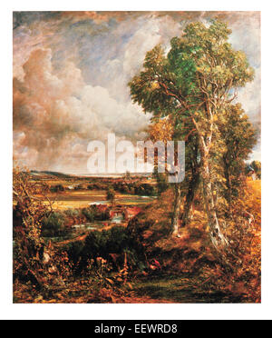 Dedham Vale John Constable Area of Outstanding Natural Beauty Essex Suffolk east England River Stour 1802 cathedral - Stock Image