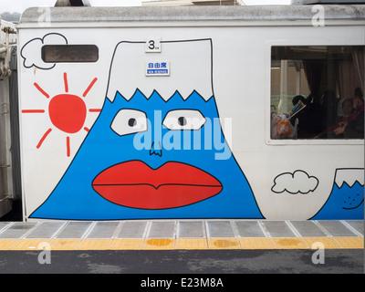 Limited Express Fujisan Tokkyu train that takes you to Mt Fuji Japan - Stock Image