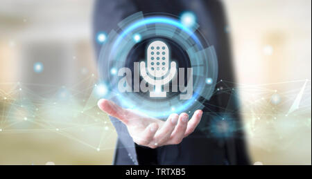 businessman hand with digital technology voice assistant concept - Stock Image