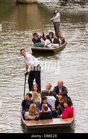 People punting on River Cam Cambridge, England - Stock Image