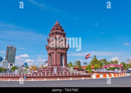 Independence Monument, Neak Banh Teuk Park, Phnom Penh, Cambodia, Asia - Stock Image
