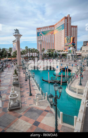 Gondolas outside the Venician Hotel and casino in Las Vegas. - Stock Image
