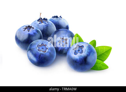 Isolated berries. Pile of blueberries isolated on white background with clipping path - Stock Image