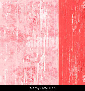 Pantone color colour of the year living coral and white painted high resolution abstract textured background with paint splatters and peeling paint. - Stock Image