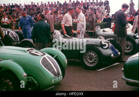 1952 John Buncombe GB Healey Grid Silverstone 19th Pat Griffith GB Lester-MG Jersey Road Race 16th. - Stock Image
