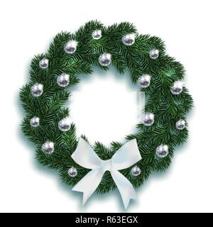 Christmas, New Year. Blue fir branches in the shape of a Christmas wreath with balls and a white bow. On a white background with a shadow. illustration - Stock Image