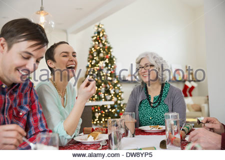 Family enjoying Christmas meal together - Stock Image