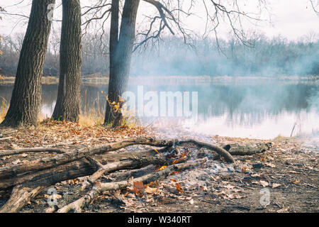 Burning campfire on the shore of an autumn forest lake - Stock Image