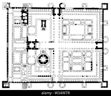 Floor plan of the Palace of Diocletian of Spalato, ,  (cultural history book, 1875) - Stock Image