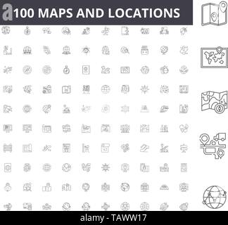 Maps and locations line icons, signs, vector set, outline illustration concept  - Stock Image