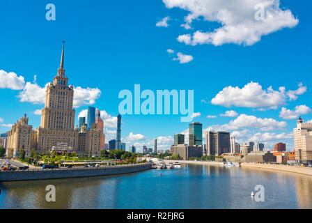 Moskva River, at former Hotel Ukraina, Moscow, Russia - Stock Image