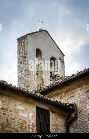 Detail of the belltower of the Church in Monte San Bartolo monastery in Pesaro, Marche, Italy. - Stock Image