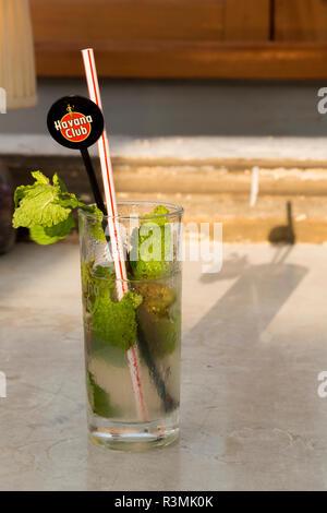 Cuba, Havana. Mojito drink with straw. Credit as: Wendy Kaveney / Jaynes Gallery / DanitaDelimont.com - Stock Image