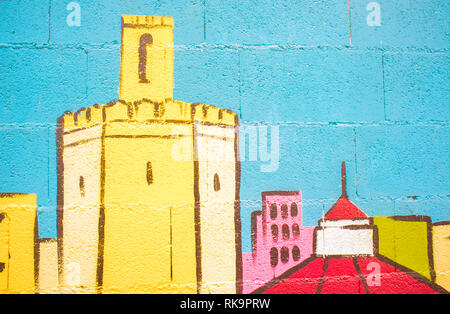 Badajoz, Spain - Dec 26th 2017: Badajoz skyline. Fragment of wall painting with Espantaperros Tower  made by unknown artist - Stock Image
