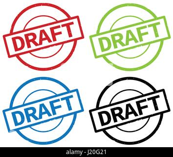 DRAFT text, on round simple stamp sign, in color set. - Stock Image
