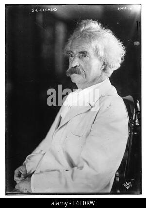 Mark Twain (1835-1910), portrait photograph, before 1910 - Stock Image