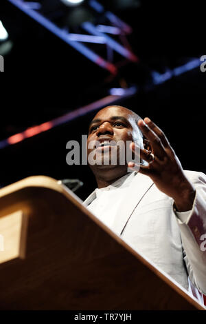 Hay Festival, Hay on Wye, Powys, Wales, UK - Thursday 30th May 2019 - David Lammy MP at the Hay Festival on stage talking about his upcoming book Tribes as part of The Octavia Hill Lecture. Photo Steven May / Alamy Live News - Stock Image