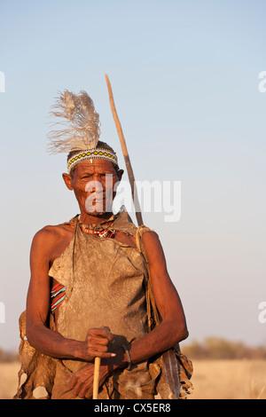 Bushmen Bushman Kalahari desert Africa tribe wild - Stock Image