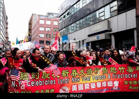 New York, USA. 17th Feb, 2019. New York City Mayor Bill de Blasio participates in the Chinese Lunar New Year parade in Manhattan's Chinatown of New York City, the United States, Feb. 17, 2019. Credit: Li Muzi/Xinhua/Alamy Live News - Stock Image