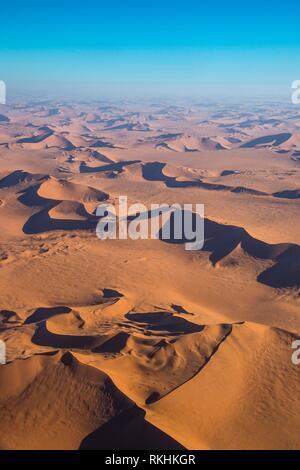 Aerial view, sanddunes in the Namib desert, Namibia - Stock Image