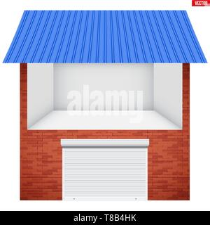 House and Garage with roller shutter system - Stock Image
