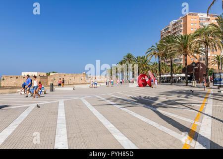 The esplanade, Playa de La Caleta, Cadiz Spain - Stock Image
