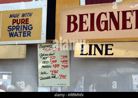 Food vendor sign at the New Orleans Jazz & Heritage Festival - Stock Image