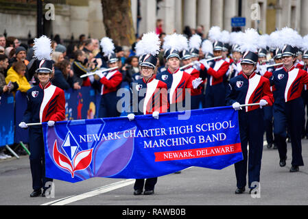 Newark Charter High School Marching Band from Newark, Delaware, at London's New Year's Day Parade 2019, UK. Girls. Females - Stock Image