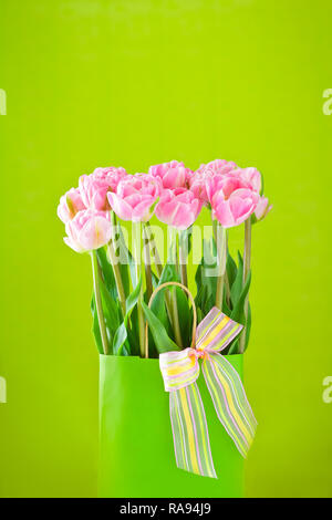 Flower bouquet of pink tulips in a vase with a multicolored bow tie on a bright green background, copy or text space - Stock Image