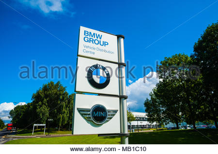 BMW Group UK Ltd Group Vehicle Distribution Centre entrance sign for Mini & BMW in Thorne, Hatfield Near Doncaster, England UK - Stock Image