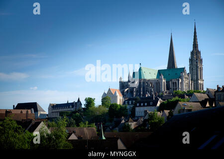 Panorama of Chartres Cathedral on the hill top overlooking the town - Stock Image