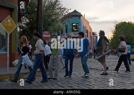 People walking through La Boca - Stock Image