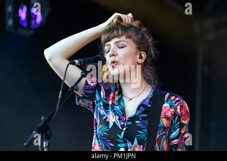 Juliette Jackson of British indie band The Big Moon live in concert with the band in 2016. Jules Jackson, Juliette Jackson alone, The Big Moon singer. - Stock Image
