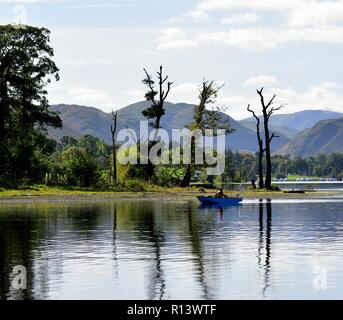 A man with his dog in a rowing boat fishing on Ullswater Lake,Lake District National Park,Cumbria,England,UK - Stock Image