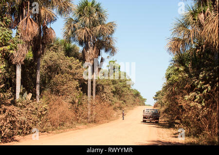 Mato Grosso State, Brazil. A man with a rifle stands looking into the rainforest next to a small truck parked at the side of the MT322 dirt road. - Stock Image