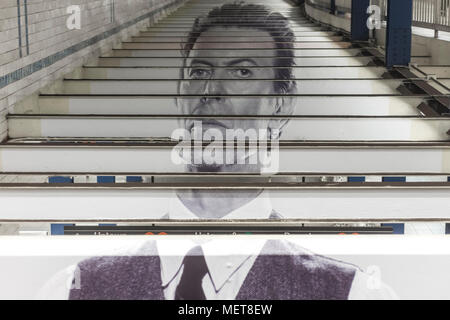 New York, USA. 121 April, 2018. Image of David Bowie across the beams of the the Broadway-Lafayette subway station.  The installation, sponsorsed  by Spotify, is being held in conjunction with the exhibition 'David Bowie IS' at the Brooklyn. The subway installation is just blocks from where the late rock star lived in Soho. The art will be on display until mid May. ©Stacy Walsh Rosenstock - Stock Image