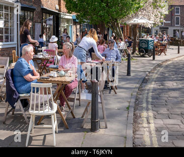 Tea and cakes on a warm Spring afternoon in York, UK - Stock Image