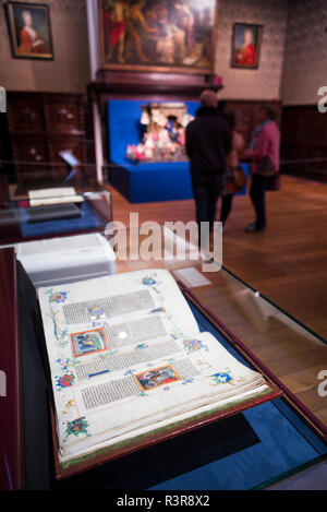 Belgium, Antwerp. Museum Plantin-Moretus, museum of the world's first industrial printing works, 16th century printed books - Stock Image