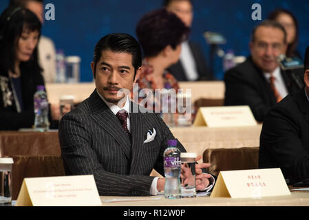 Macao, Macao SAR, China. 8th Nov, 2018. Talent Ambassador, Aaron Kwok (pictured) joins producer Alvin Chau and Festival Artistic director, Mike Goodridge to launch the program for the 3rd International Film festival and awards Macao. This years oversea talent ambassador will be Nicholas Cage. Credit: Jayne Russell/ZUMA Wire/Alamy Live News - Stock Image