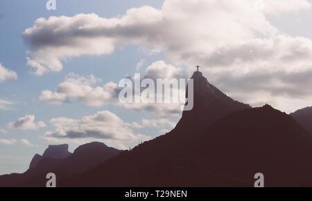 Christ the Redeemer of Rio de Janeiro, Brazil panorama - UNESCO World Heritage Site - Stock Image