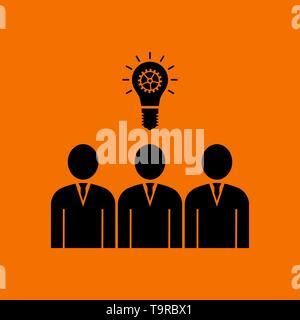 Corporate Team Finding New Idea Icon. Black on Orange Background. Vector Illustration. - Stock Image