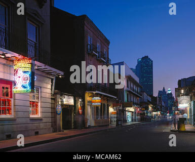 Dusk on Bourbon Street - Stock Image